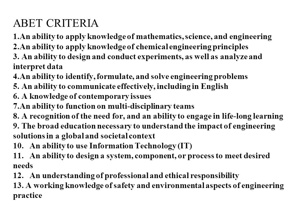 ABET CRITERIA 1.An ability to apply knowledge of mathematics, science, and engineering 2.An ability to apply knowledge of chemical engineering principles 3. An ability to design and conduct experiments, as well as analyze and interpret data 4.An ability to identify, formulate, and solve engineering problems 5.