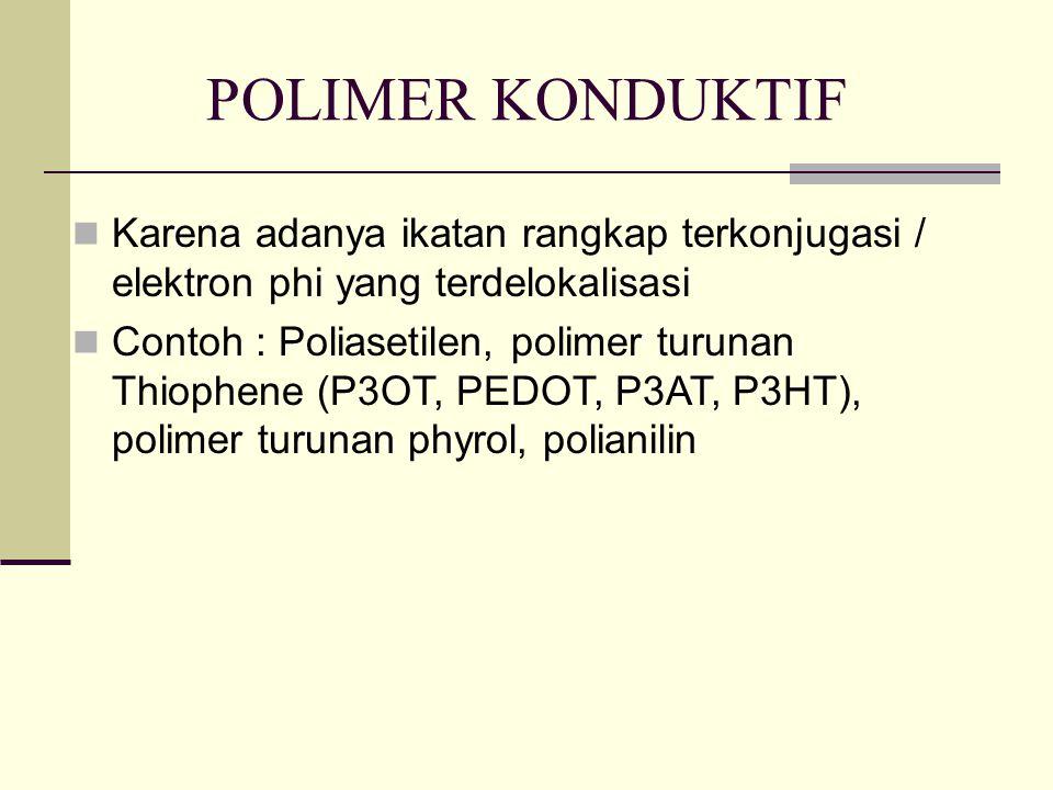 POLIMER KONDUKTIF Karena adanya ikatan rangkap terkonjugasi / elektron phi yang terdelokalisasi.