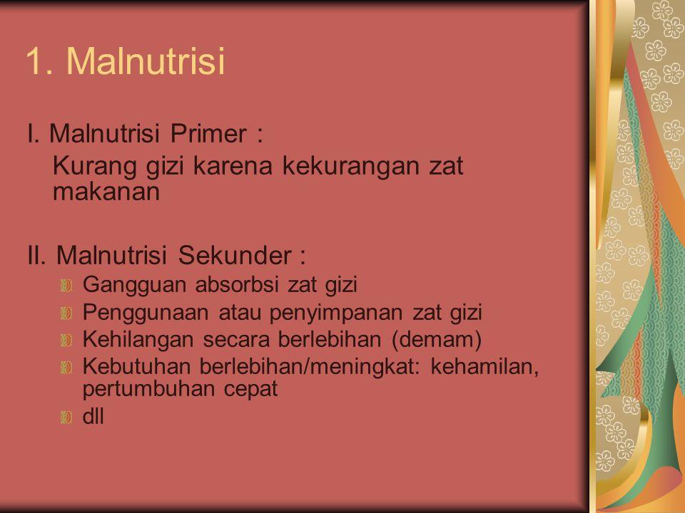 1. Malnutrisi I. Malnutrisi Primer :