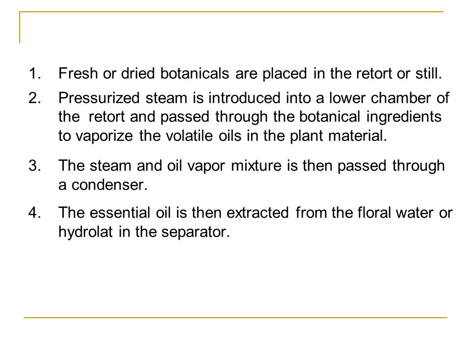 1. Fresh or dried botanicals are placed in the retort or still.