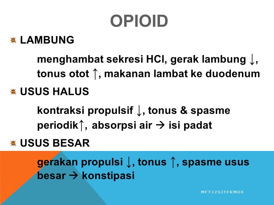 OPIOID LAMBUNG. menghambat sekresi HCl, gerak lambung ↓, tonus otot ↑, makanan lambat ke duodenum.