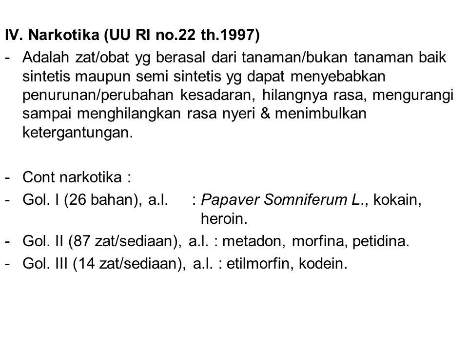 IV. Narkotika (UU RI no.22 th.1997)