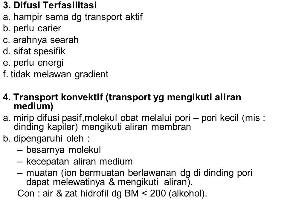 3. Difusi Terfasilitasi a. hampir sama dg transport aktif. b. perlu carier. c. arahnya searah. d. sifat spesifik.