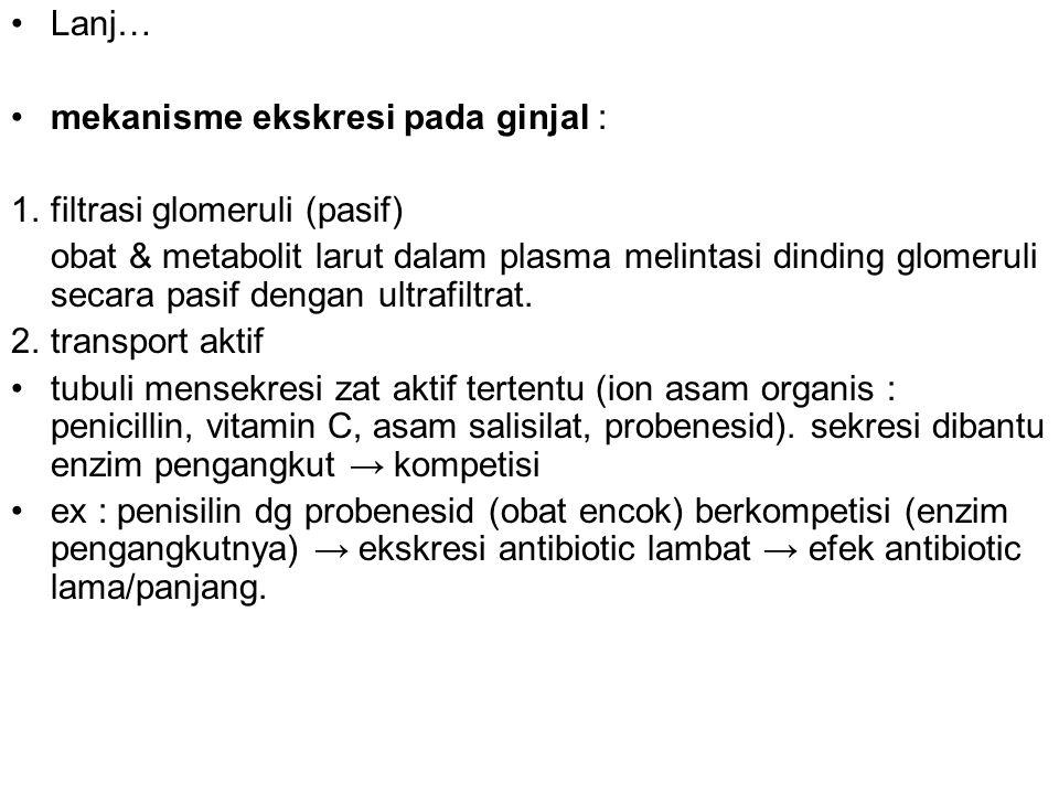 Lanj… mekanisme ekskresi pada ginjal : 1. filtrasi glomeruli (pasif)