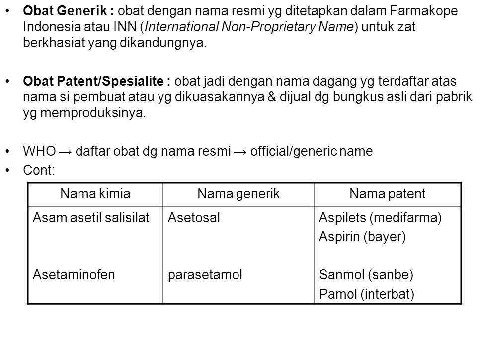 Obat Generik : obat dengan nama resmi yg ditetapkan dalam Farmakope Indonesia atau INN (International Non-Proprietary Name) untuk zat berkhasiat yang dikandungnya.