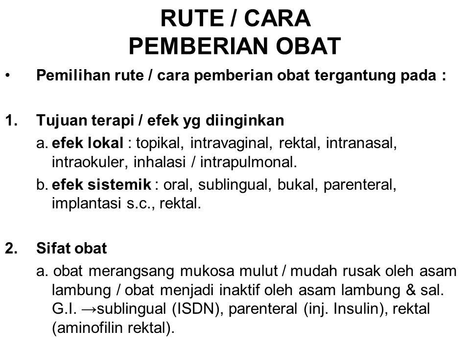 RUTE / CARA PEMBERIAN OBAT
