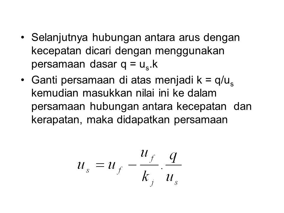 Selanjutnya hubungan antara arus dengan kecepatan dicari dengan menggunakan persamaan dasar q = us.k