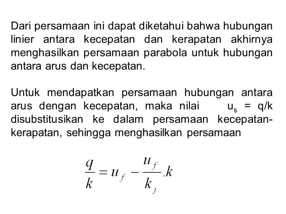 Dari persamaan ini dapat diketahui bahwa hubungan linier antara kecepatan dan kerapatan akhirnya menghasilkan persamaan parabola untuk hubungan antara arus dan kecepatan.