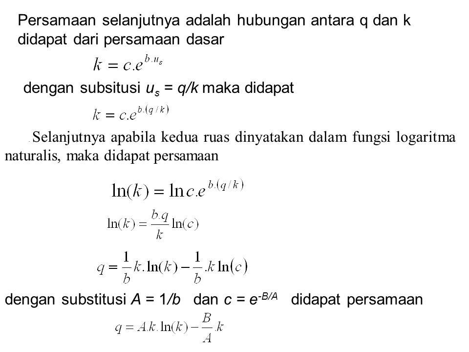 dengan substitusi A = 1/b dan c = e-B/A didapat persamaan