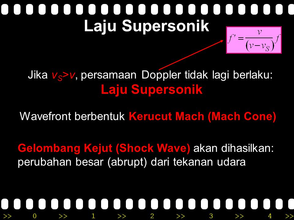 Laju Supersonik Jika vS>v, persamaan Doppler tidak lagi berlaku: Laju Supersonik.