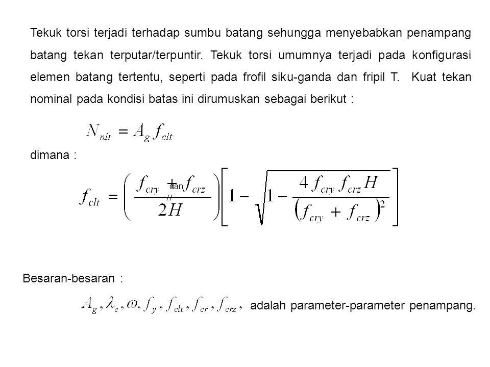 adalah parameter-parameter penampang.
