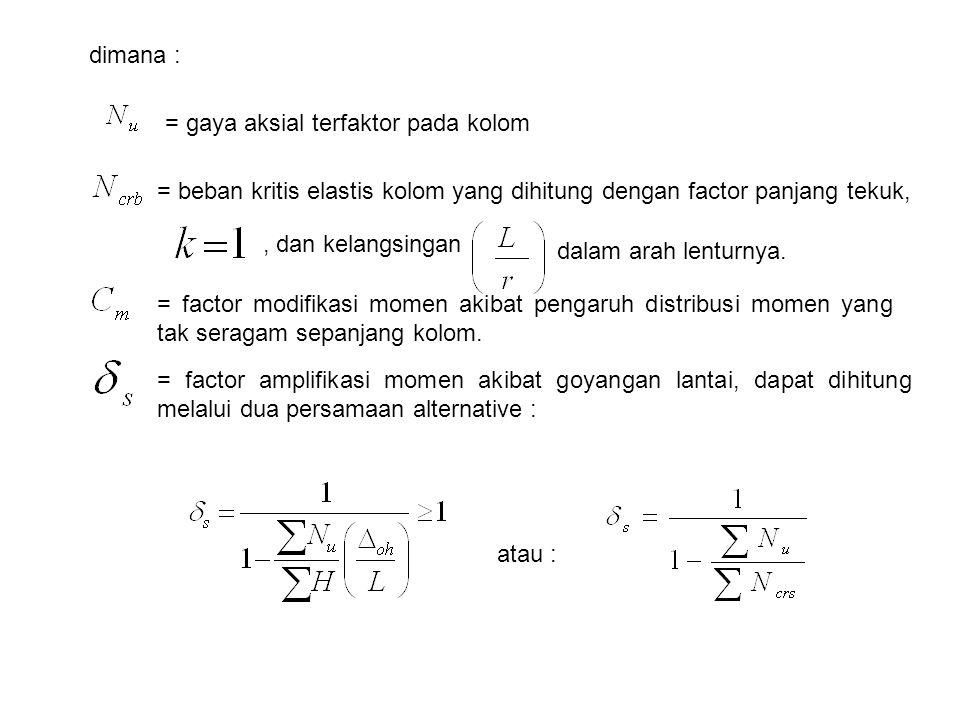dimana : = gaya aksial terfaktor pada kolom. = beban kritis elastis kolom yang dihitung dengan factor panjang tekuk,
