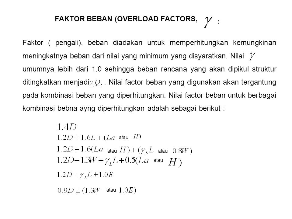 FAKTOR BEBAN (OVERLOAD FACTORS,