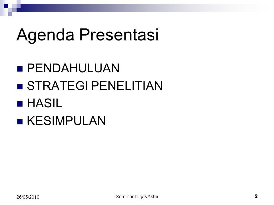 Agenda Presentasi PENDAHULUAN STRATEGI PENELITIAN HASIL KESIMPULAN
