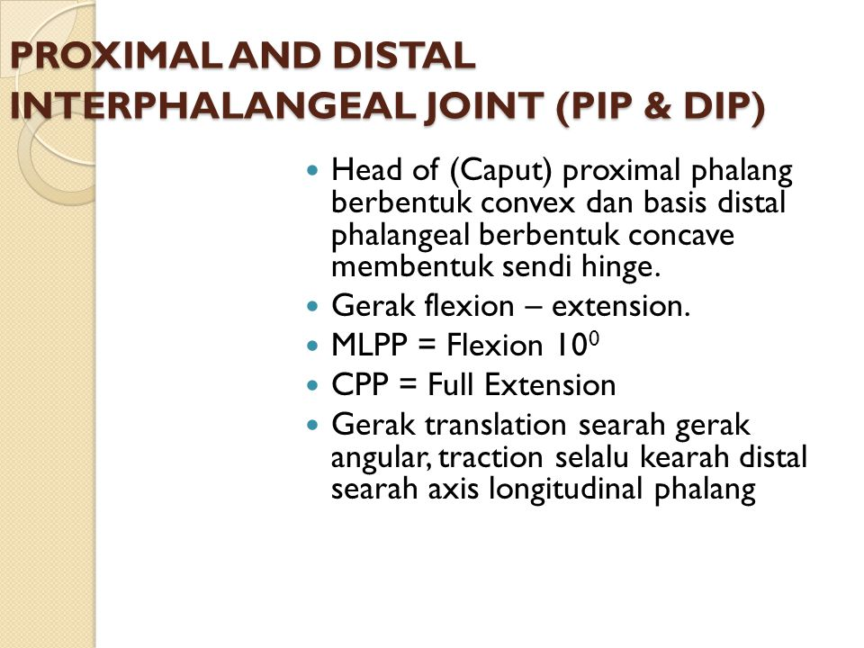 PROXIMAL AND DISTAL INTERPHALANGEAL JOINT (PIP & DIP)