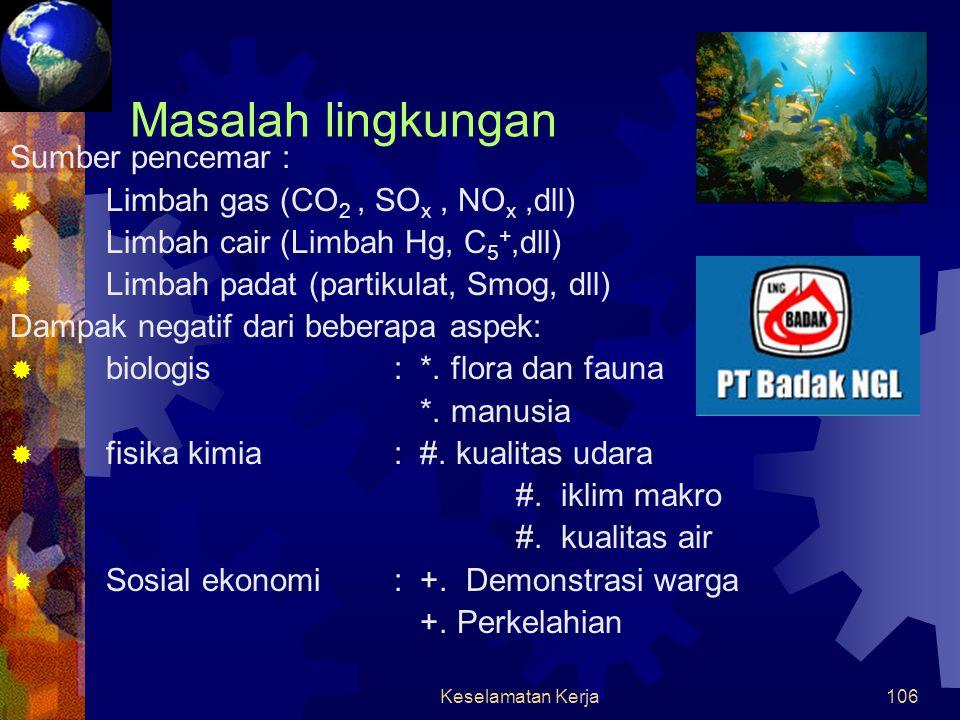 Masalah lingkungan Sumber pencemar : Limbah gas (CO2 , SOx , NOx ,dll)
