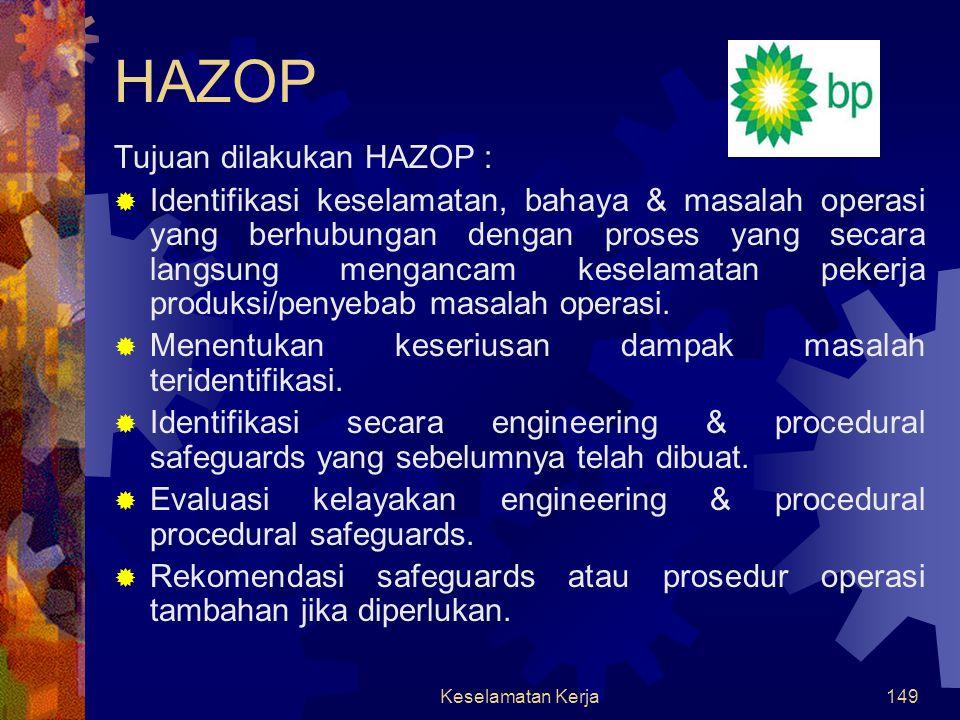 HAZOP Tujuan dilakukan HAZOP :
