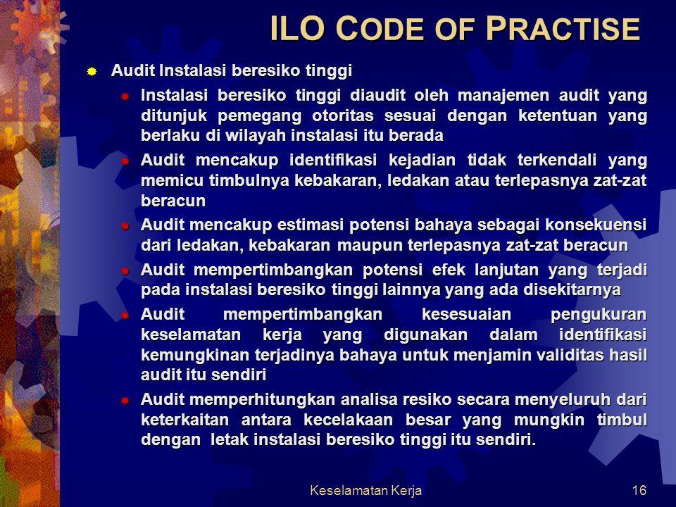 ILO CODE OF PRACTISE Audit Instalasi beresiko tinggi