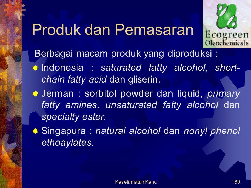 Produk dan Pemasaran Berbagai macam produk yang diproduksi :