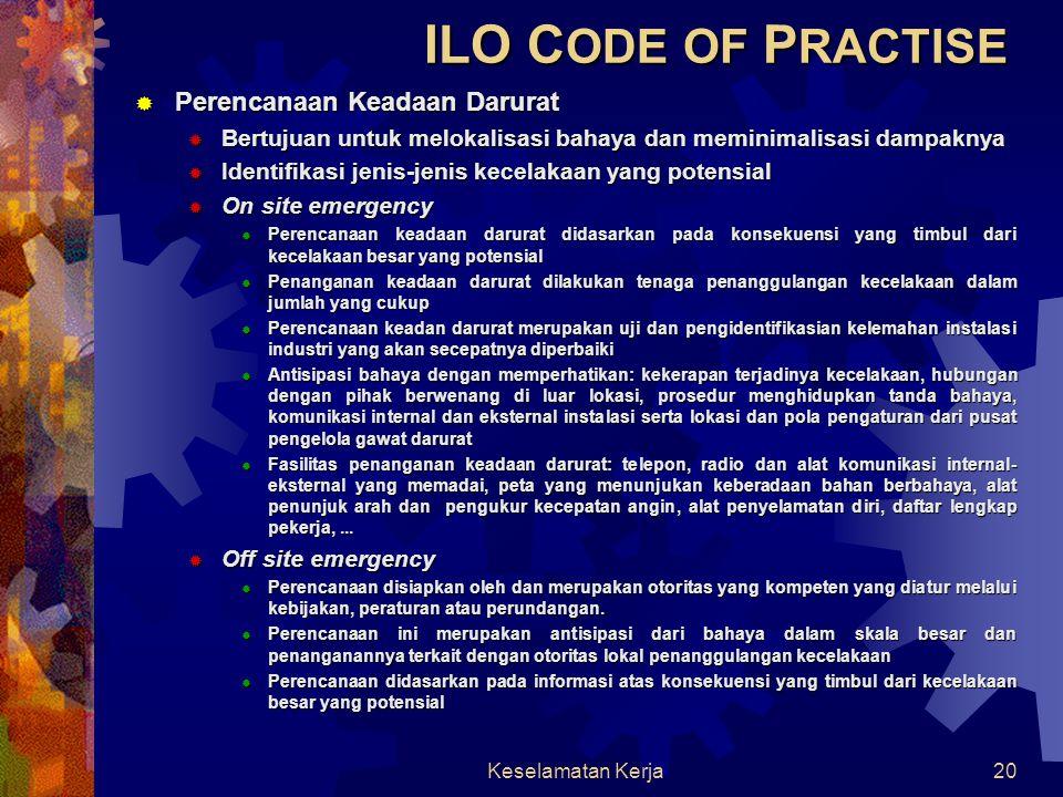 ILO CODE OF PRACTISE Perencanaan Keadaan Darurat
