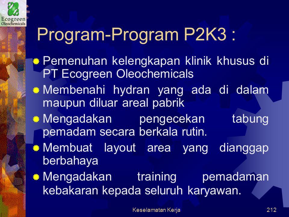 Program-Program P2K3 : Pemenuhan kelengkapan klinik khusus di PT Ecogreen Oleochemicals.