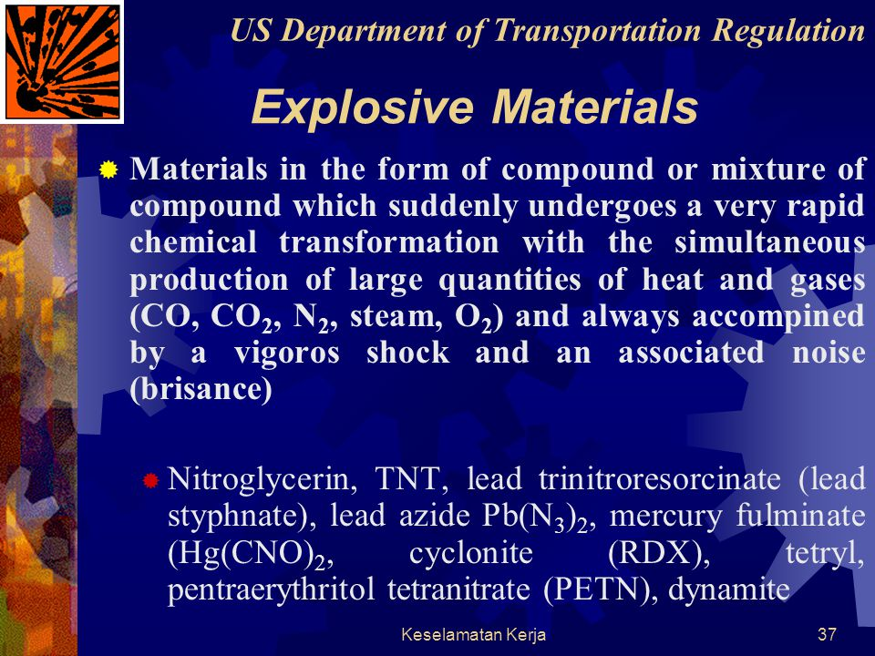 Explosive Materials US Department of Transportation Regulation