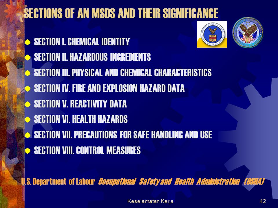 SECTIONS OF AN MSDS AND THEIR SIGNIFICANCE