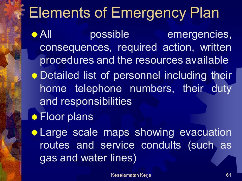 Elements of Emergency Plan
