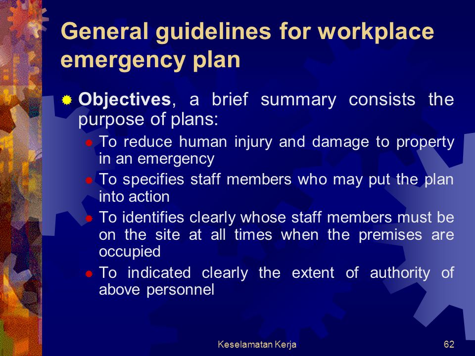 General guidelines for workplace emergency plan