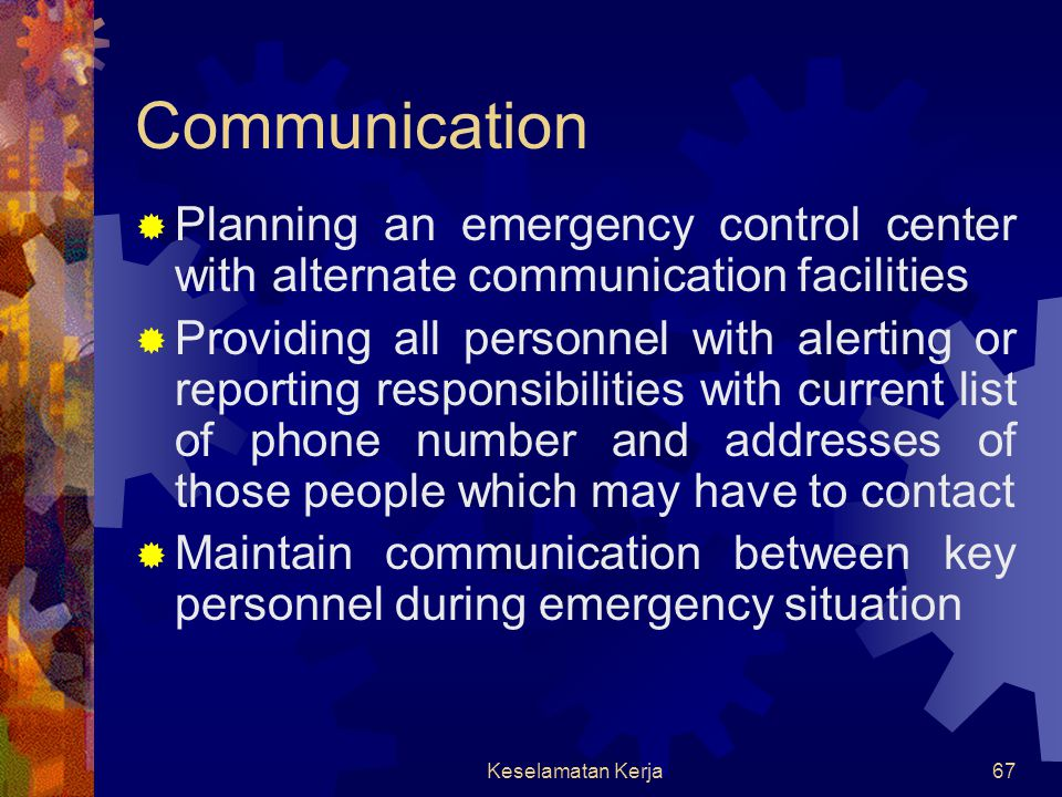 Communication Planning an emergency control center with alternate communication facilities.