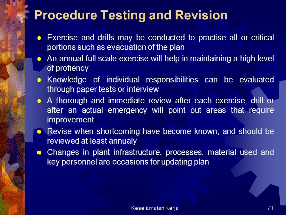 Procedure Testing and Revision