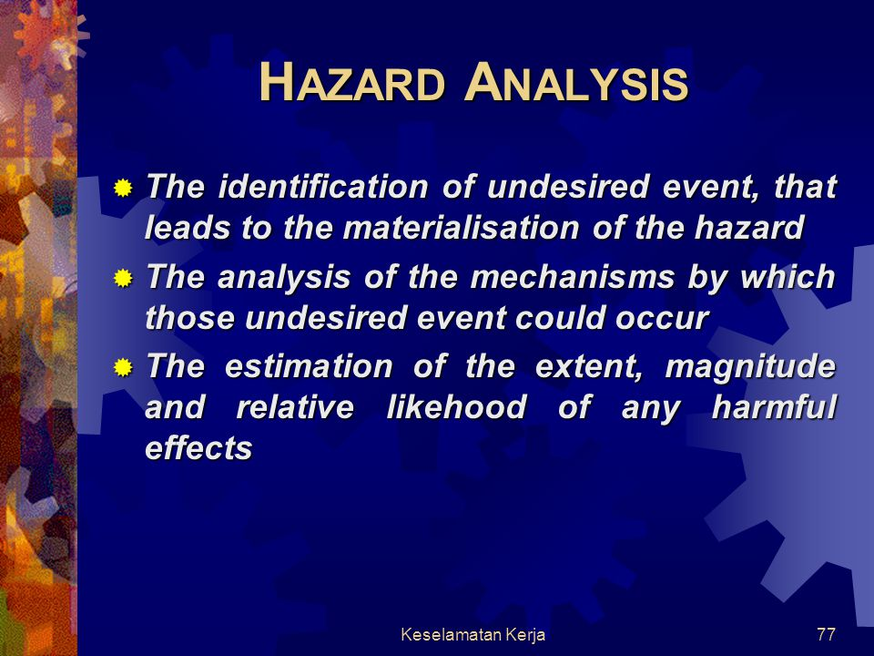 HAZARD ANALYSIS The identification of undesired event, that leads to the materialisation of the hazard.