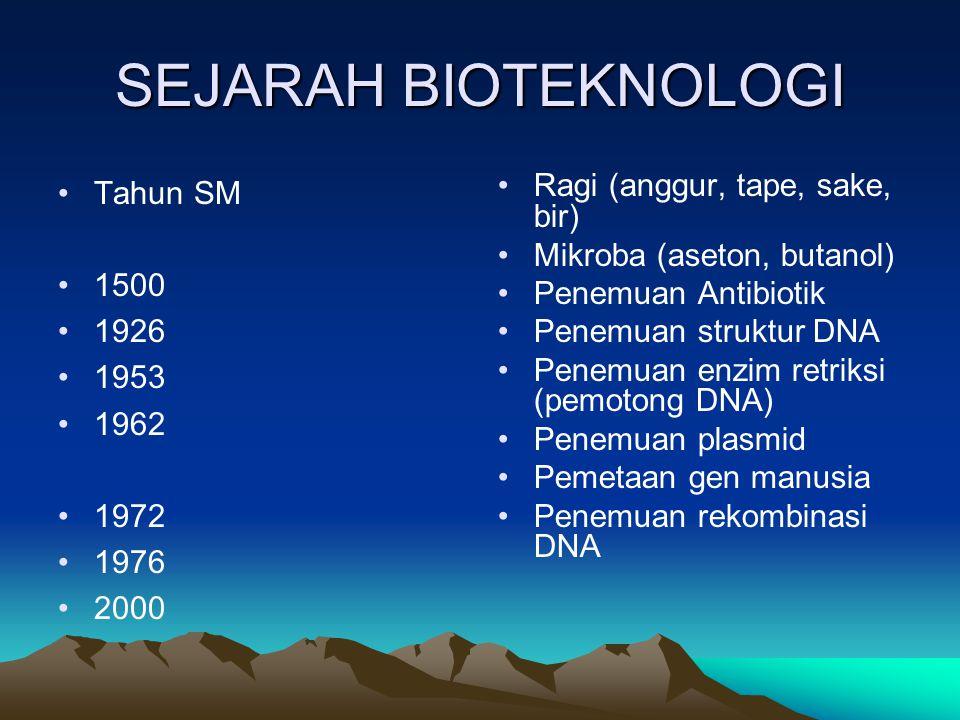 SEJARAH BIOTEKNOLOGI Tahun SM 1500 1926 1953 1962 1972 1976 2000