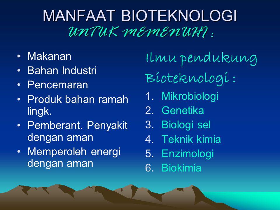 MANFAAT BIOTEKNOLOGI UNTUK MEMENUHI :