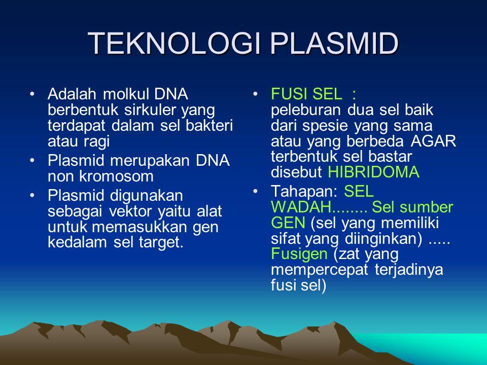 TEKNOLOGI PLASMID Adalah molkul DNA berbentuk sirkuler yang terdapat dalam sel bakteri atau ragi. Plasmid merupakan DNA non kromosom.