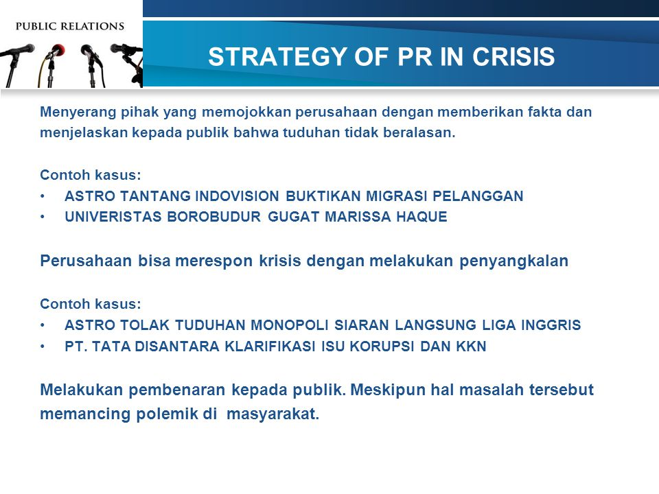 STRATEGY OF PR IN CRISIS
