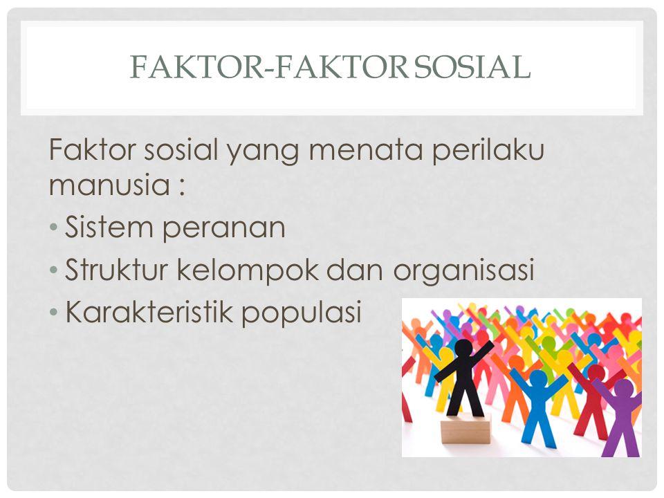 Faktor-faktor sosial Faktor sosial yang menata perilaku manusia :