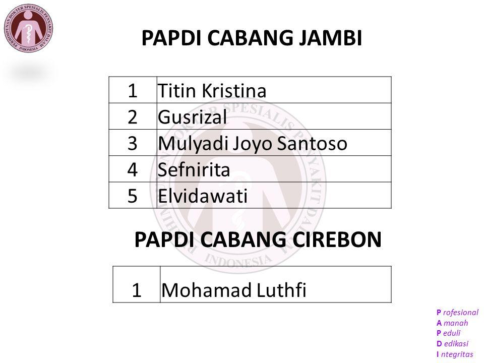 PAPDI CABANG JAMBI PAPDI CABANG CIREBON 1 Titin Kristina 2 Gusrizal 3