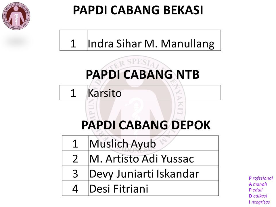 PAPDI CABANG BEKASI PAPDI CABANG NTB PAPDI CABANG DEPOK 1
