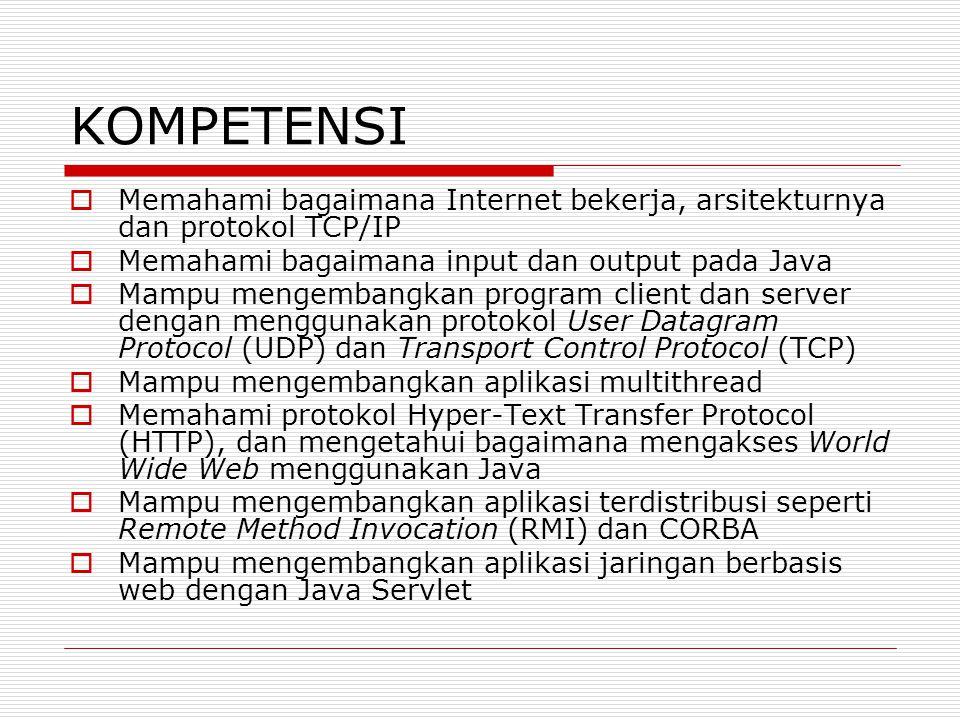 KOMPETENSI Memahami bagaimana Internet bekerja, arsitekturnya dan protokol TCP/IP. Memahami bagaimana input dan output pada Java.
