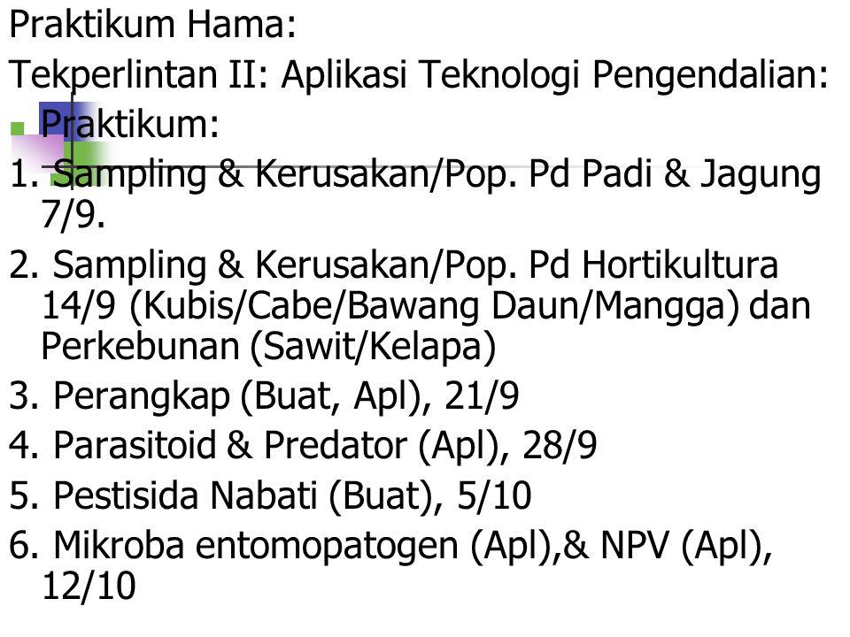 Praktikum Hama: Tekperlintan II: Aplikasi Teknologi Pengendalian: Praktikum: 1. Sampling & Kerusakan/Pop. Pd Padi & Jagung 7/9.