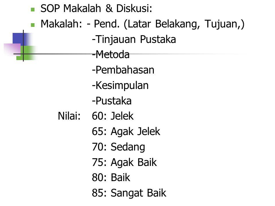SOP Makalah & Diskusi: Makalah: - Pend. (Latar Belakang, Tujuan,) -Tinjauan Pustaka. -Metoda. -Pembahasan.