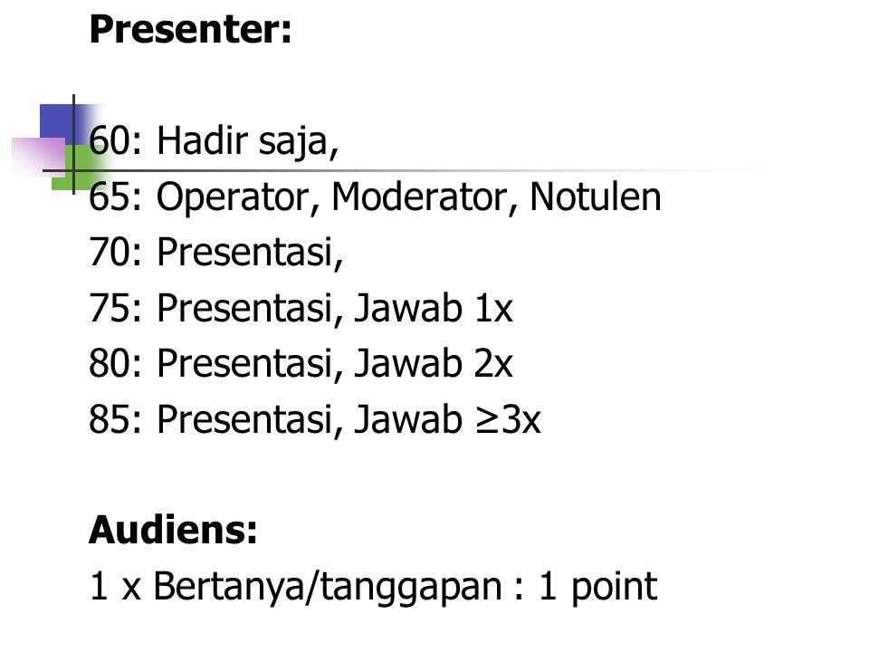 Presenter: 60: Hadir saja, 65: Operator, Moderator, Notulen. 70: Presentasi, 75: Presentasi, Jawab 1x.