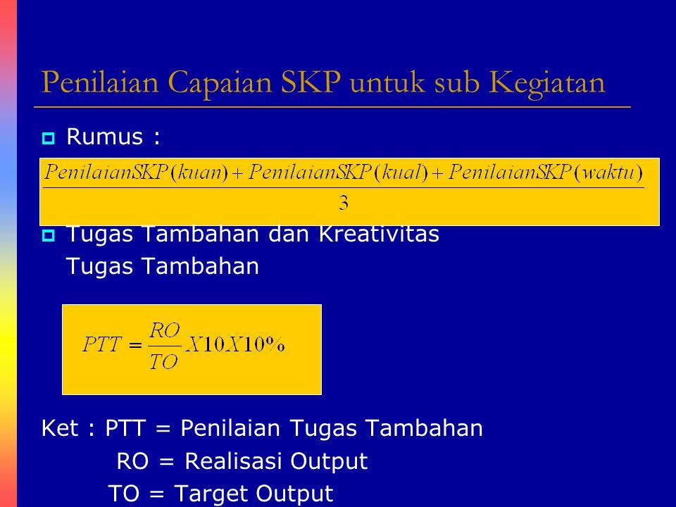 Penilaian Capaian SKP untuk sub Kegiatan
