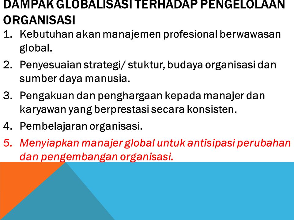 Dampak Globalisasi terhadap Pengelolaan Organisasi