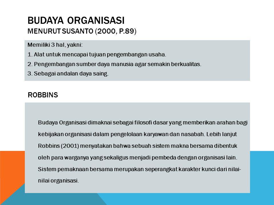 budaya organisasi Menurut Susanto (2000, p.89)