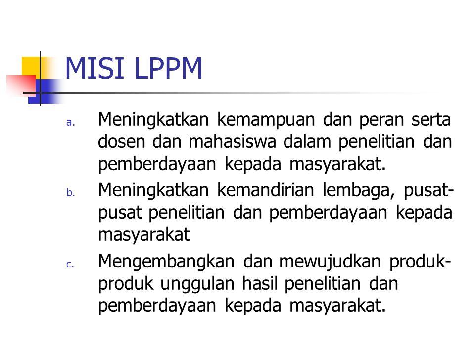 MISI LPPM Meningkatkan kemampuan dan peran serta dosen dan mahasiswa dalam penelitian dan pemberdayaan kepada masyarakat.