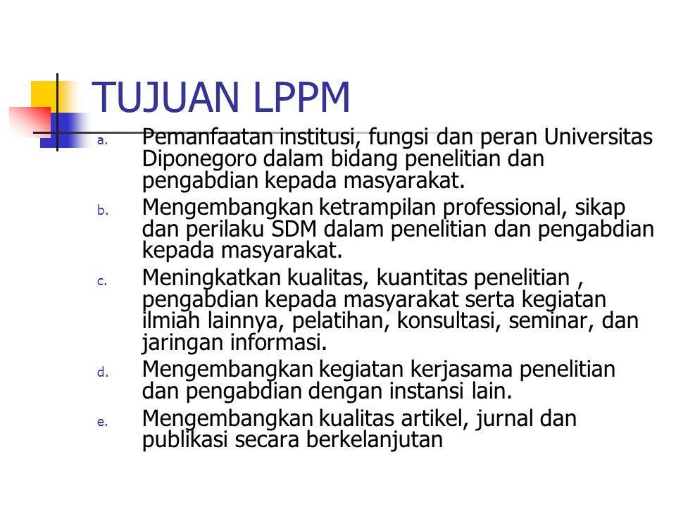 TUJUAN LPPM Pemanfaatan institusi, fungsi dan peran Universitas Diponegoro dalam bidang penelitian dan pengabdian kepada masyarakat.