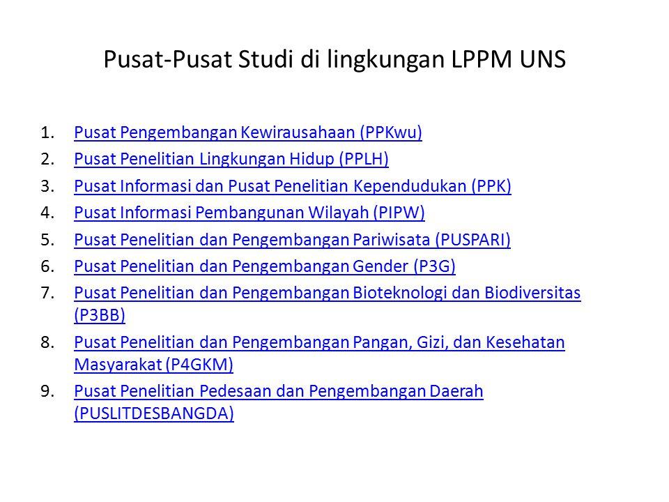 Pusat-Pusat Studi di lingkungan LPPM UNS