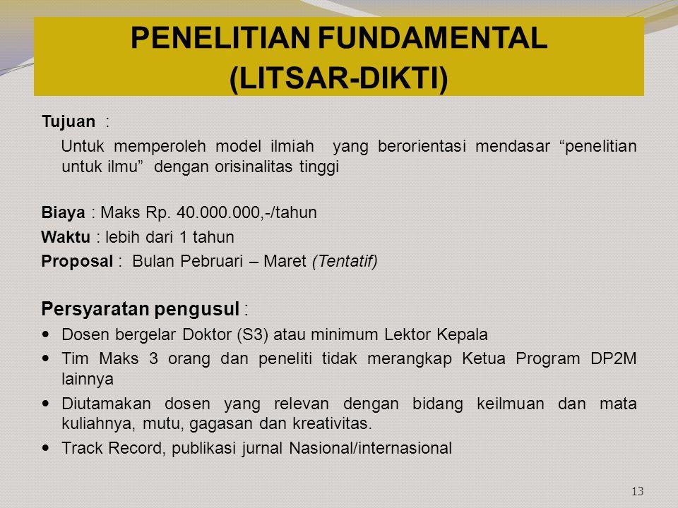 PENELITIAN FUNDAMENTAL (LITSAR-DIKTI)
